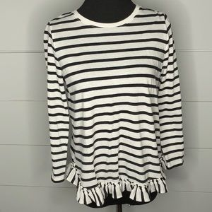 Kate Spade black and white striped top ruffled hem